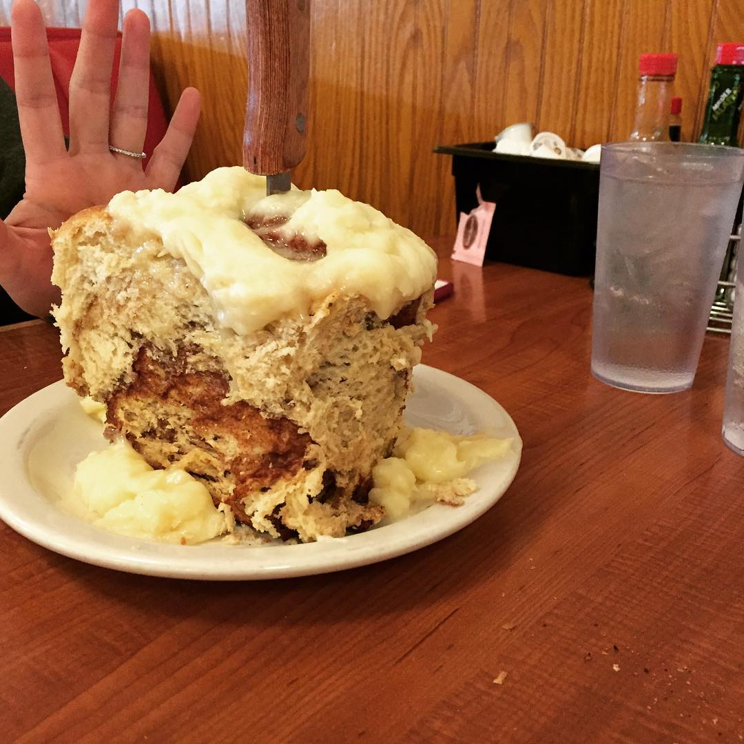 Cinnamon roll? Yeah, we're gonna need a to go box.