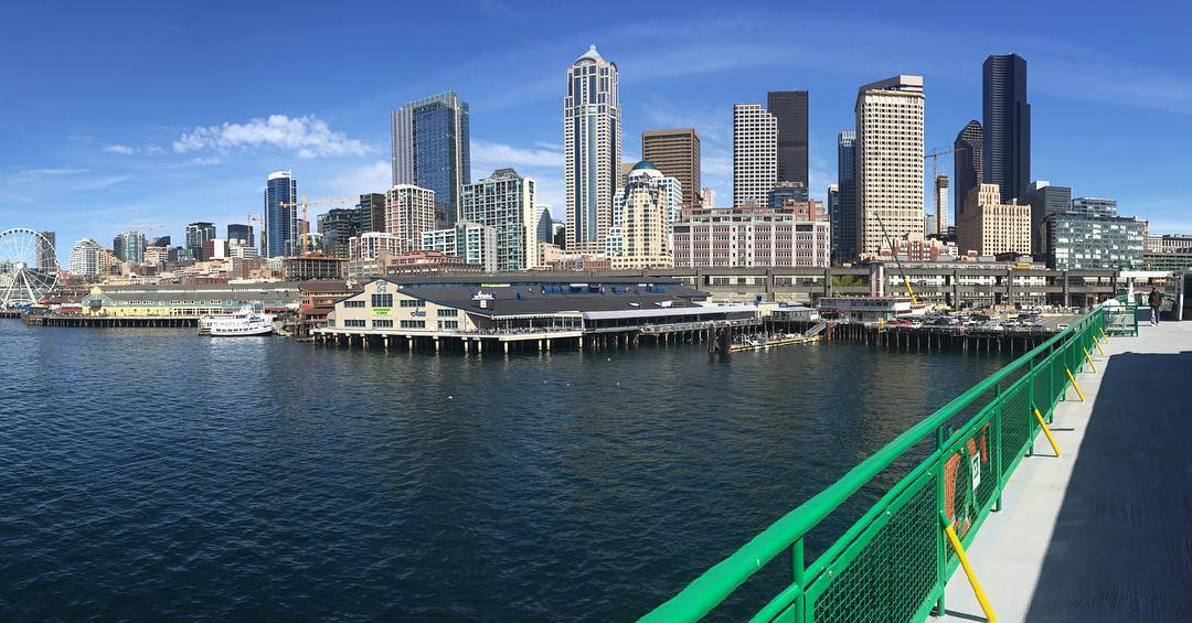 We like spring break cruising on the ferry to Bainbridge island.