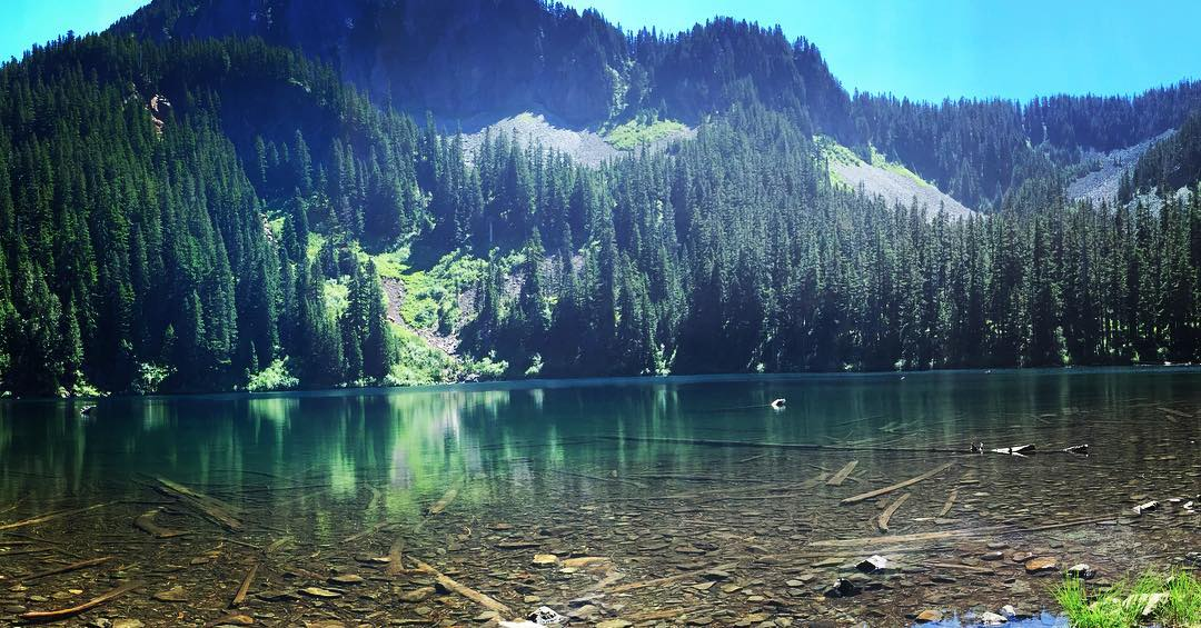 Our first Alpine lake, Annette Lake. So pretty. So tired.