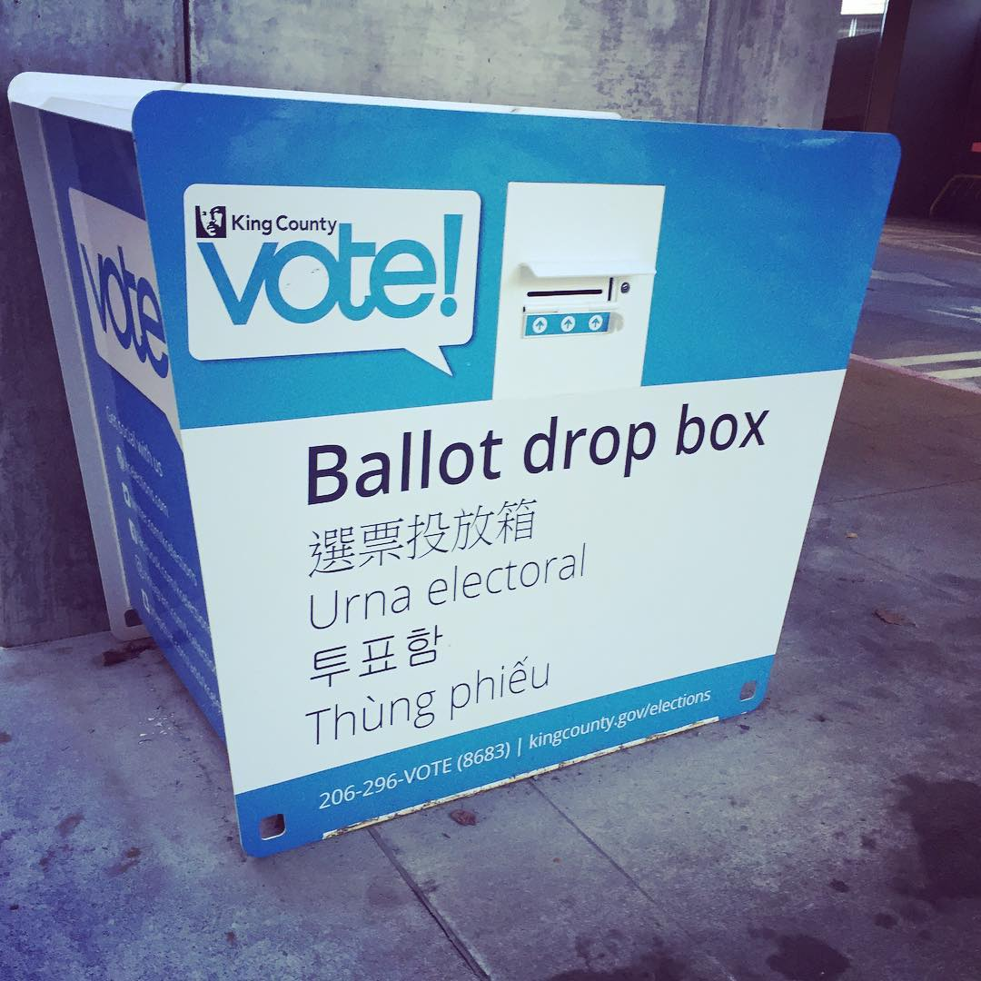 Our ballot box! We love the mail in ballots in WA. Only downside? No stickers.