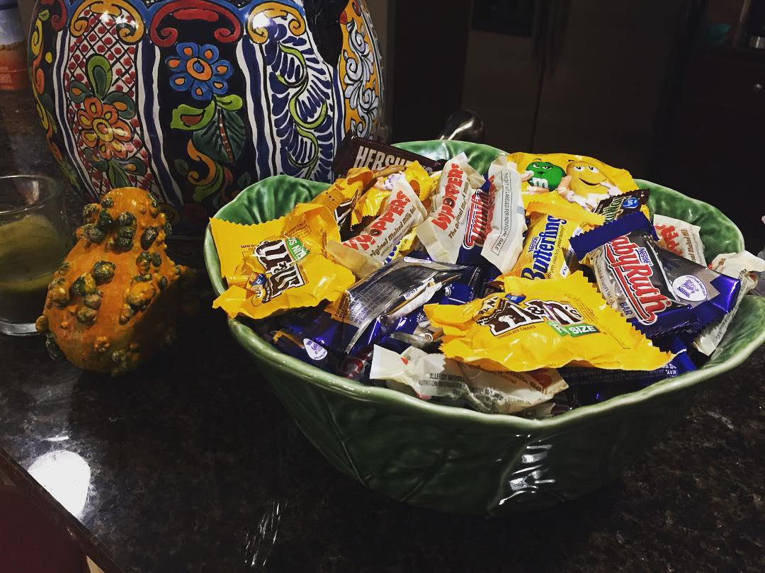 Favorite time of the year (note: we don't have trick-or-treaters in our building)