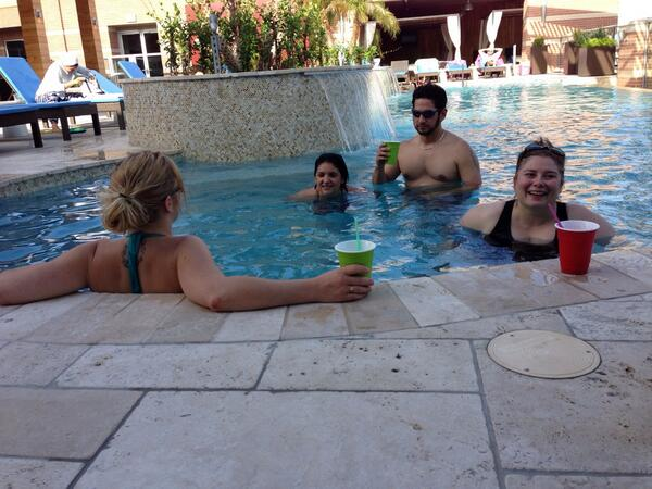 Impromptu pool party? Sure. Loving the guest visits at the new place.