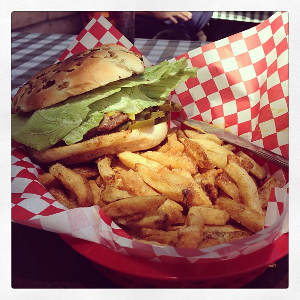 St. John's Bar & Grill for lunch. Tasty jalapeño burger  goodness.