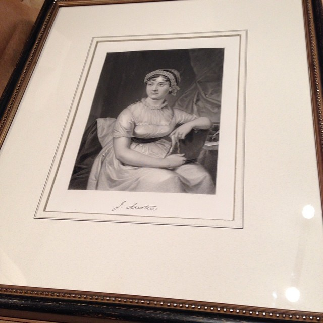 Jen's framing for the 1872 steel engraving of Jane Austen - happy early birthday!